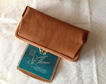 NOS St. Thomas Leather Wallet, Tan Clutch Wallet, Oversized Wallet with Two Coin Pockets, Gifts for Her