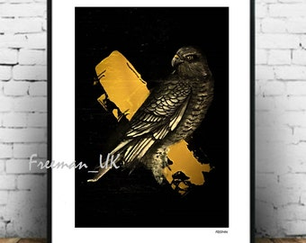 Sparrowhawk Gold, Abstract fine art giclee print