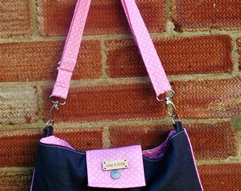 Small canvas and cotton shoulder/messenger bag