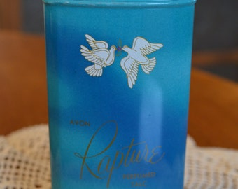Vintage Avon Rapture Perfumed Talc Tin