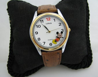 Retro - Quartz Lorus Two Tone Mickey Mouse Watch with Leather Band