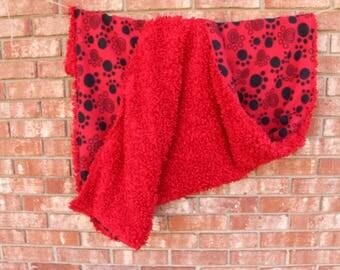 Red Fleece Paw Print Blanket/toddler blanket