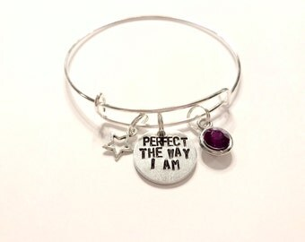 """Steven Universe Amethyst Inspired Bangle - """"Perfect the way I am"""""""