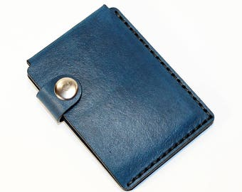 Blue leather wallet, credit card wallet, mini wallet, handmade wallet, leather wallet, business card holder