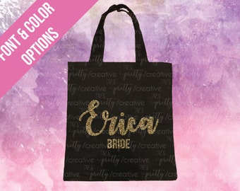 Bride Name Black Soft Canvas Tote -  Silver or Gold Glitter Text