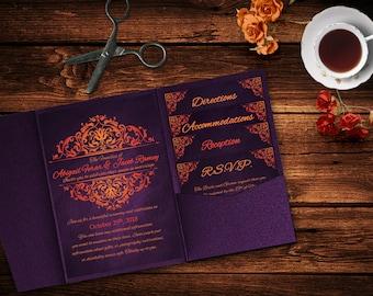 Purple Orange Halloween Wedding Invitation Template, Invitation Suite, Wedding Invitation, Pocket Template, Invitation, Haunted Wedding DIY