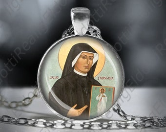 St Faustina Kowalska Catholic Medal Necklace Saint  of the Blessed Sacrament Pendant FREE Shipping