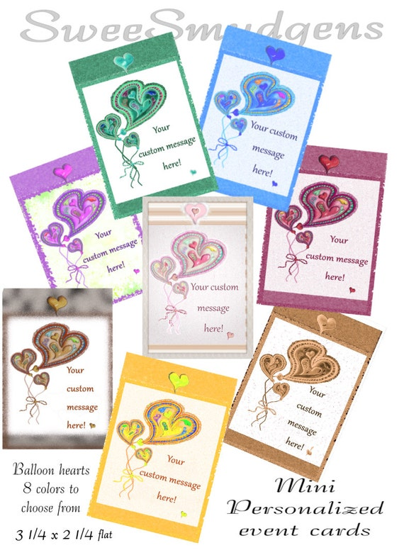 Personalized party tags floral supply cards pocket cards holiday tag sets custom print event tags colorful hearts bag tags package ties