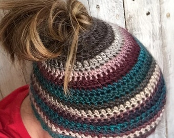 Messy bun hat, messy bun, Handmade hat, women's pony tail hat, ponytail hat, bun hat, crochet hat, women's hat, winter hat, fashion hat