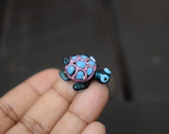 Artisan Handmade Lampwork Glass Turtle Bead, 1pc