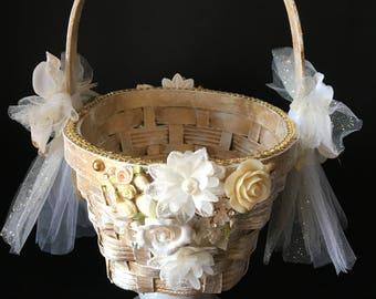 Gold Tulle Flower Girl Basket