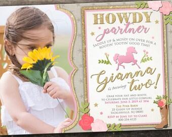 10% OFF NEW Printed or Digital Modern Cowgirl Birthday Invitation Rodeo Birthday Invitation Farm Birthday Invitation Pink Cowgirl Birthday