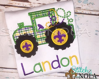 Mardi Gras Tractor Shirt, Bodysuit or Gown