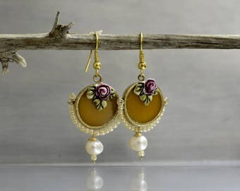Mustard yellow earrings in vintage Style with  pearl and a rose, victorian style earrings ,bride earrings, romantic earrings