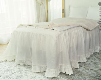 Linen bed skirt with ruffles- Softened linen dust ruffle- Vintage look French style linen bed skirt- Softened linen coverlet
