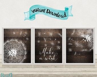 Dandelion 3 Set Prints,Wall Art Print,Make a Wish Quote print,Nursery Dandelion Print,Motivational Print,Nursery Room Decor,Dandelion Poster