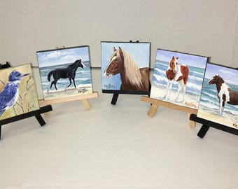 Chincoteague Island Wild Ponies & King Fisher Paintings by artist, Linda Kantias