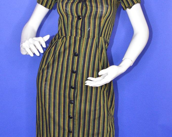 Vintage Estate 1950s Black Green Yellow Stripe Print Day Dress