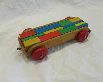 Toy Wagon and Blocks, Wood, One Wagon 1950's, Twelve Blocks 1970's