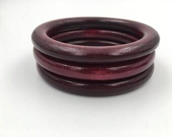 Wooden Bangles, Dark Stain Wood Bangle Bracelets, Retro Accessories, Vintage Bracelets, Vintage Wood Bangles - Maroon Bangle