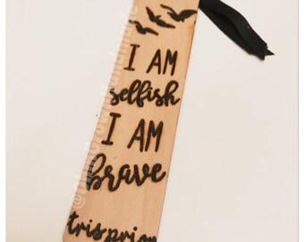 Custom Divergent Insurgent Allegiant Literature Quote l Gift Tag Reading Fandom Nerd Geeky Personalized Feminist Bookmark Wood Burned