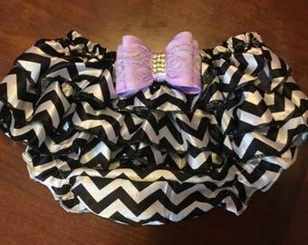 Black Chevron Silk Diaper Cover, Silk Diaper Cover, Black Chevron Lavender Bow Diaper Cover, Birthday Gift, Baby Shower Gift
