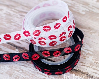 "3/8"" Glittered Kisses - Red Lips Print - U.S. DESIGNER - High Quality Grosgrain Ribbon - 5yd Roll"