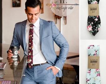 Floral Skinny Tie,Floral Tie, Retro Tie, Casual, Men's, Groomsmen , Vintage , Handmade , Wedding , Gift ,Skinny, Classic, Necktie, Prom,