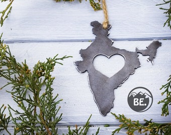 Love India Steel Ornament Metal Heart Christmas Tree Ornament Holiday Gift Industrial Decor Wedding Favor By BE Creations