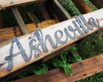"23"" Asheville Rustic Raw Steel Cursive Word Sign North Carolina NC Aville City Metal Sign by BE Creations"
