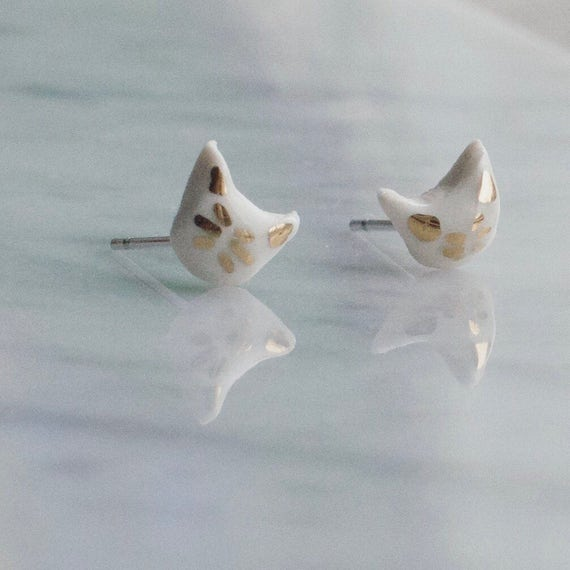 Tiny Cat kitten Whiskers Porcelain and 18k Gold Stud Earrings
