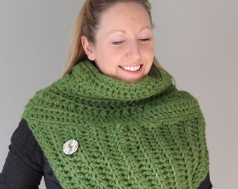 Katniss Inspired Sweater Cowl - Ultra Chunky - Ready to Ship - Moss Green with White Wood Chevron Button OOAK