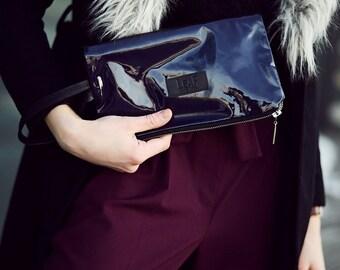 Dark aubergine leather clutch bag | Recycled leather bag | Large leather pouch | Oversized clutch bag