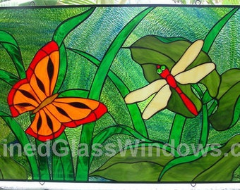 Monarch Butterfly & Dragonfly Stained Glass Window Panel (we do custom work, email me for quote)