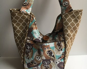 Owl print, nature, hobo, tote, shoulder bag, tan beige