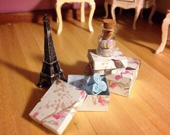 DOLLHOUSE VINTAGE BOXES, handmade 1:12 scale storage boxes
