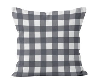 Gray Large Gingham Pillow Cover, gray rustic farmhouse pillow cover, grey plaid pillow cover, rustic men decor, rustic cottage pillow cover
