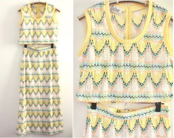 70's Yellow Peach and Teal Chevron Knitted Co Ord Set S/M