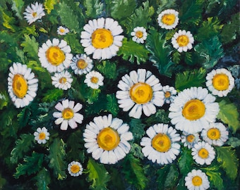 """Oil Painting White Flowers Original Artwork Home Decor Wall Decor Wall Hanging Art Floral 20""""x24"""""""