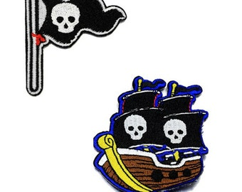 4pcs/lot pirate boat  Skull  flag  embroidered   iron  on patch  DIY  5-6cm
