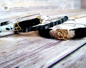 Fabric Bracelets, Set of Bangles, Stacking Bangles, Gypsy Bracelets, Bracelet Set, Black Bangles, Stacking Bracelets, Bohemian Accessories