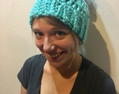 Messy bun hat - Ponytail hat - Bun hat - Crochet messy bun hat - Knit messy bun hat - Mom bun hat - Viral hat - Mint messy bun hat