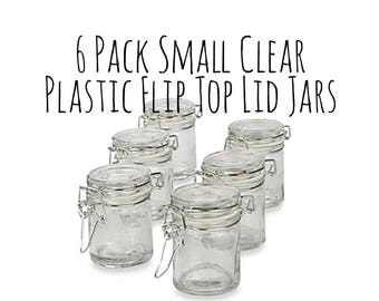 """6 Pack of 2.25 x 1.75"""" Clear Plastic Mini Mason Jar with Lid, Hinged Flip Top Jar, Wedding Favor Container, Candy Jar, Party Favor Container"""