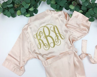 Bride Robe - Wedding Day Robe - Monogram Robe - Glitter Bridal Robe - Bride Satin  - Bridal Lingerie Shower Gift - Bridesmaid Robe -Blush Ro