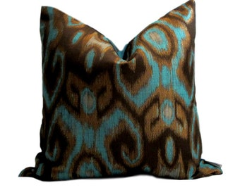 Robert Allen Turquoise Ikat Pillow Cover