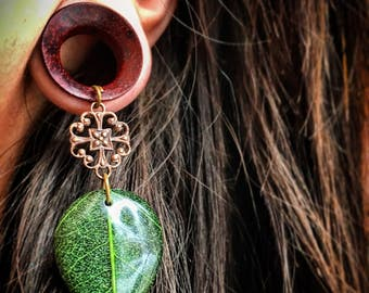 "Organic Bohemian Tree Leaf Dangles as Plug Gauges or Tunnels in Sizes 0g(8mm) through 1""(25mm) Wood Gages/ Dangle Plugs/ Eyelets/ Stretchers"