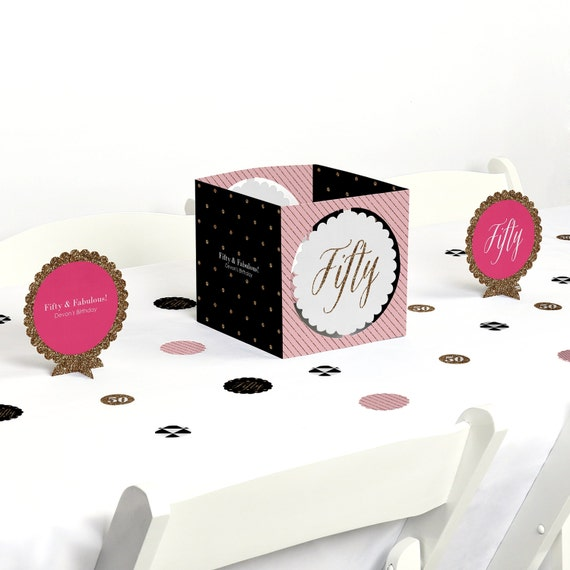 Chic th birthday party centerpiece and table