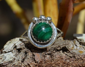 Navajo handmade Sterling silver and malachite ring with three silver drops
