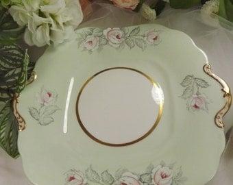 Cake Plate , Vintage Aynsley , Pink Handles