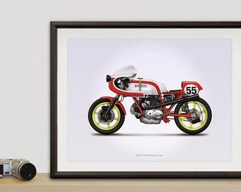 Ducati 750ss Corsa motorcycle illustration poster, print 18 x 24 inches